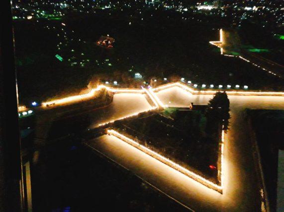 五稜郭タワーで五稜郭の夜景を見てきた